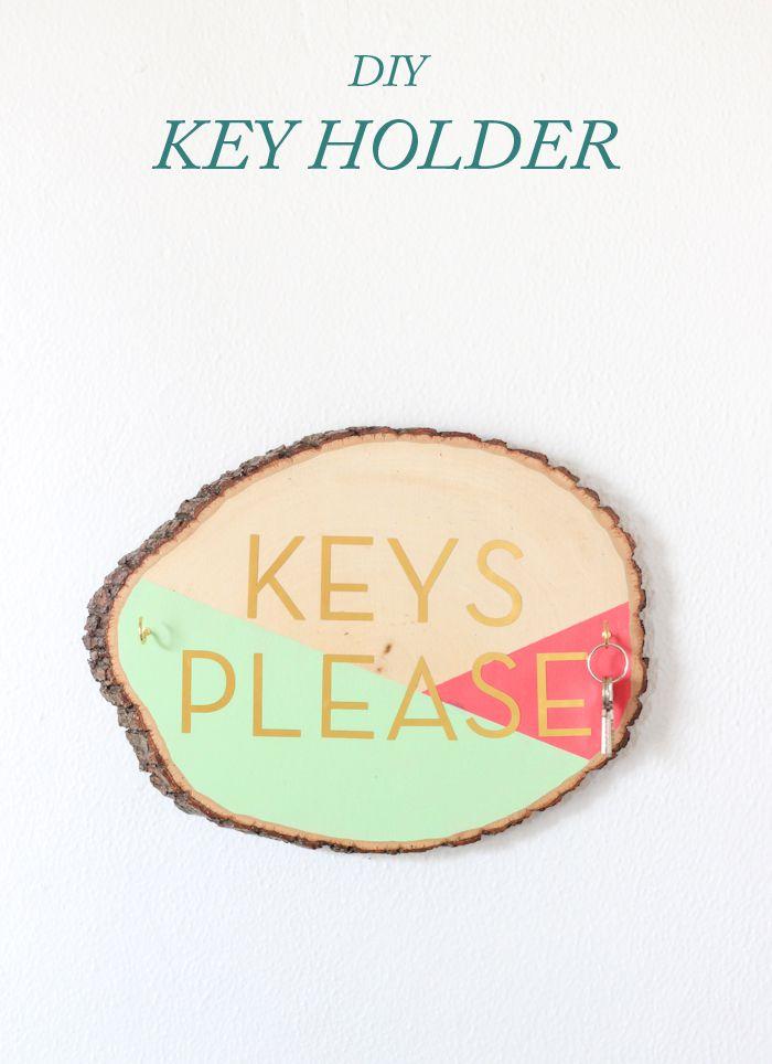 Wooden Slab Key Holder