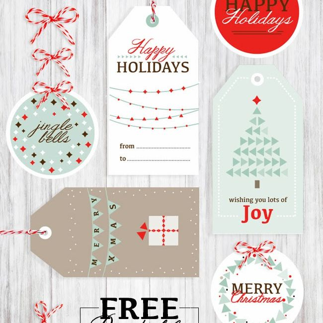 a set of white green and red christmas gift tags