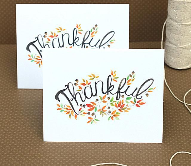 "A Thanksgiving greeting card that says 'Thankful""."