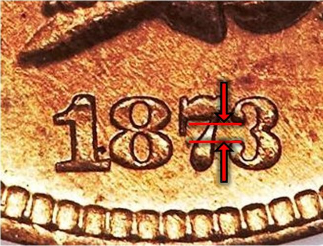 1873 Indian Head Cent Open 3 Variety