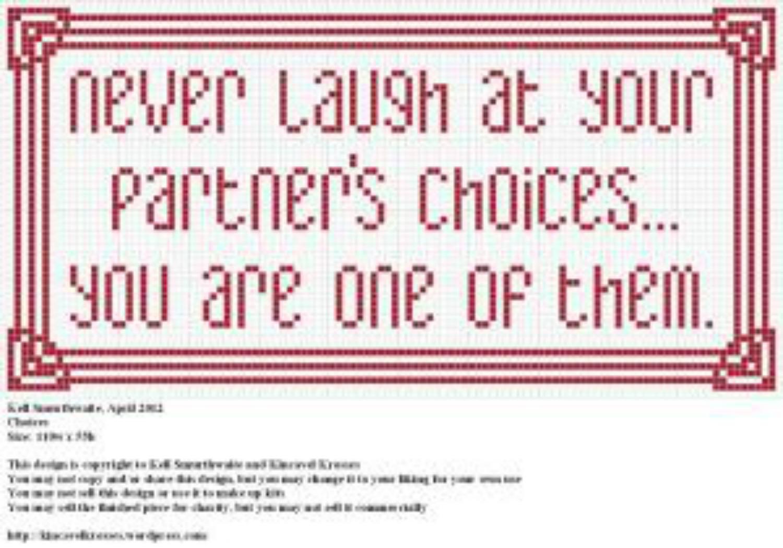 Never Laugh cross stitch