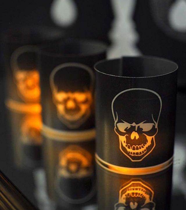 DIY Pottery Barn Inspired Halloween Skull Votives