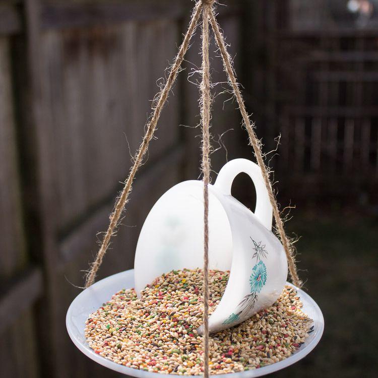 How to DIY a bird feeder with a teacup
