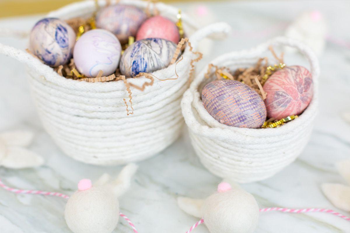 Silk tie Easter eggs in baskets