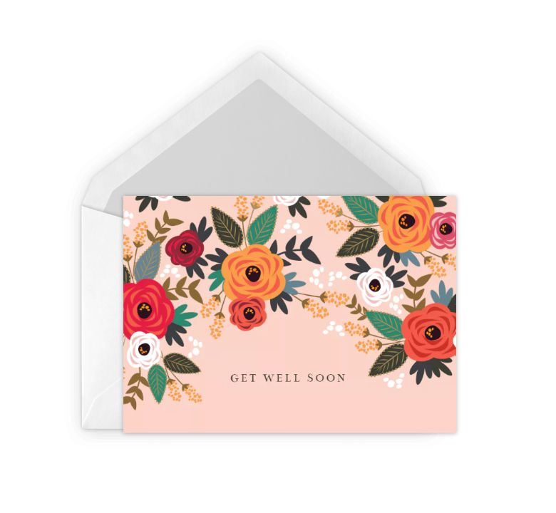 A bright floral card that says