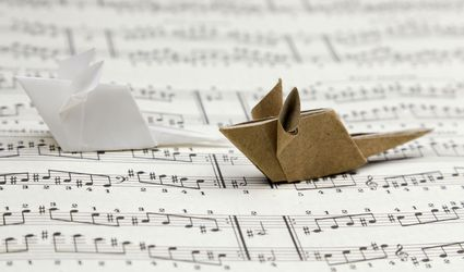 origami mice on music paper