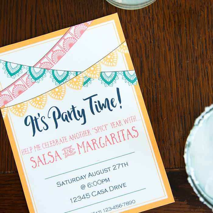 A birthday party invite for salsa and margaritas