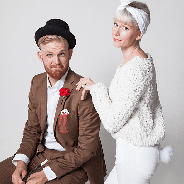 DIY magician and white rabbit costumes