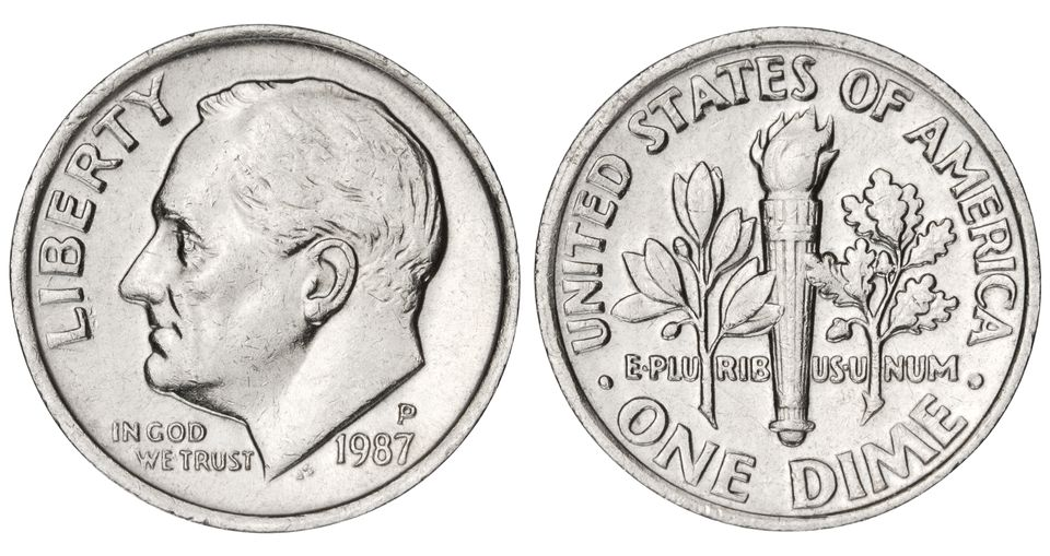 Dime with clipping path on white background