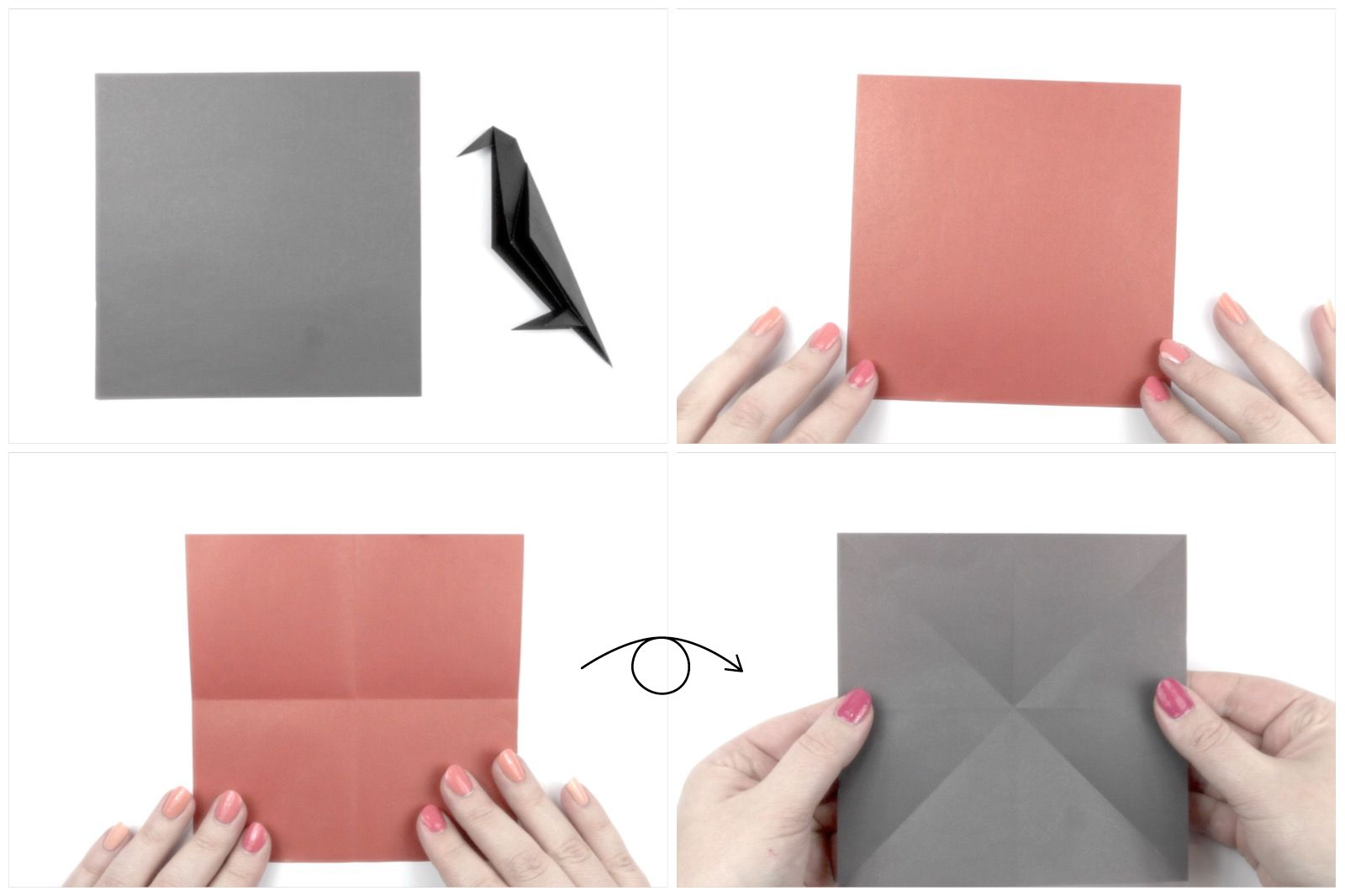 Beginning folds for an origami crow