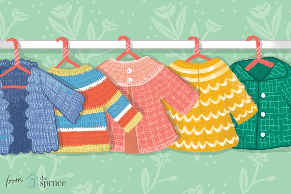 Illustration of crochet baby sweaters