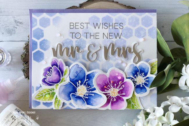 watercolor flower wedding card