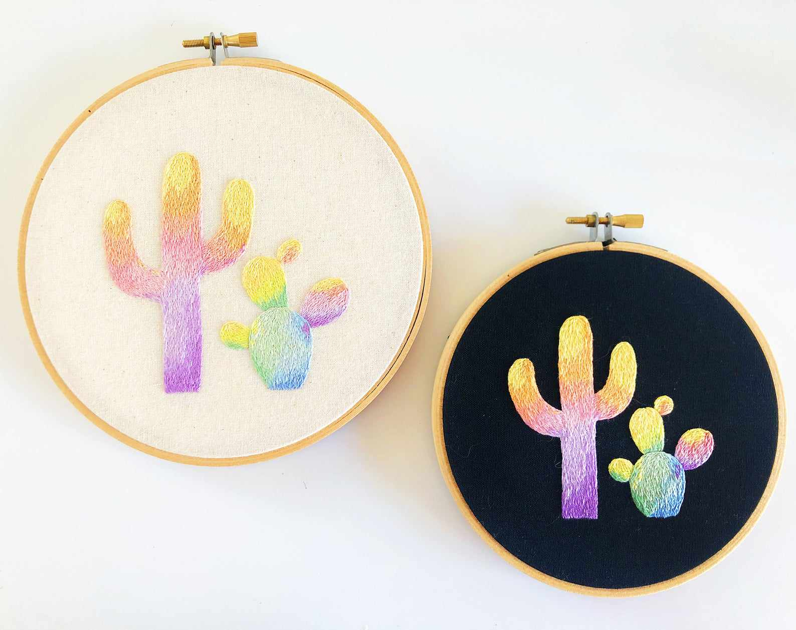 Rainbow Cactus Embroidery Pattern