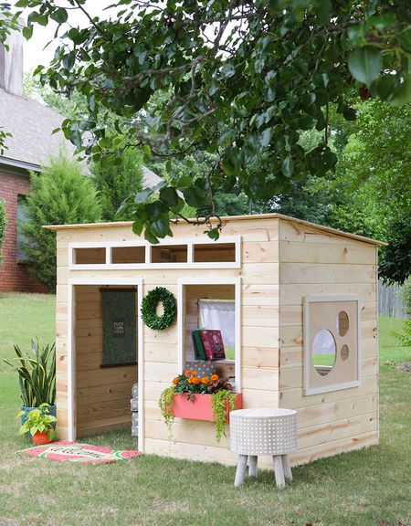 13 free playhouse plans the kids will love a modern wooden playhouse malvernweather Images