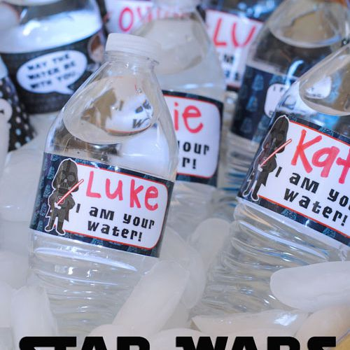 Water bottles with Star Wars labels in a bucket of ice