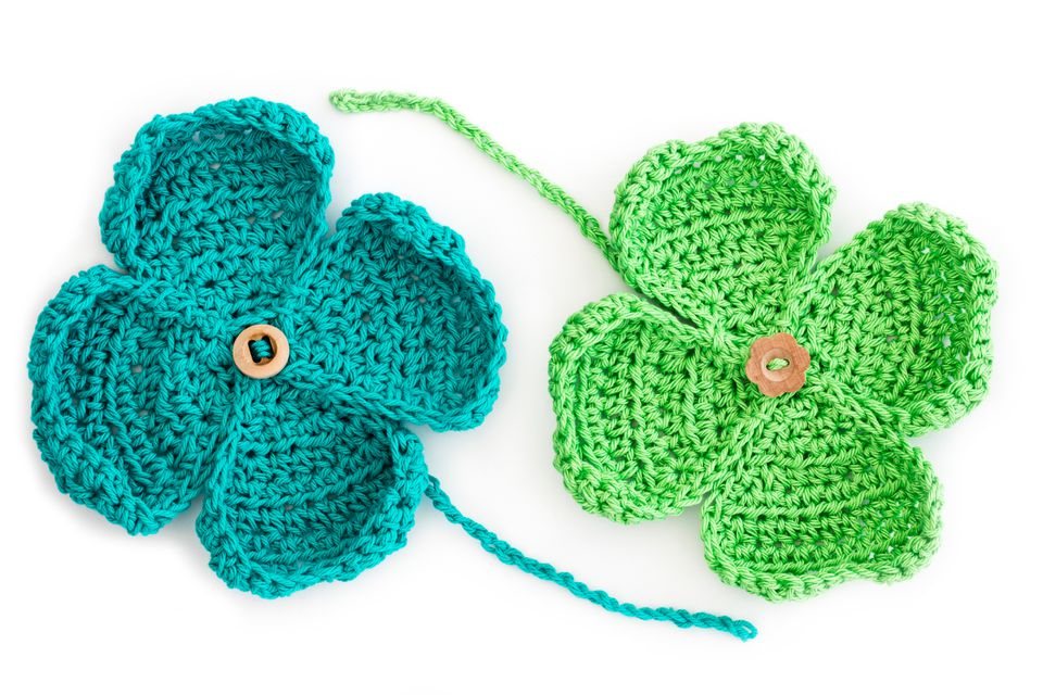 Homemade Crochet St Patricks Day Four Leaf Clovers