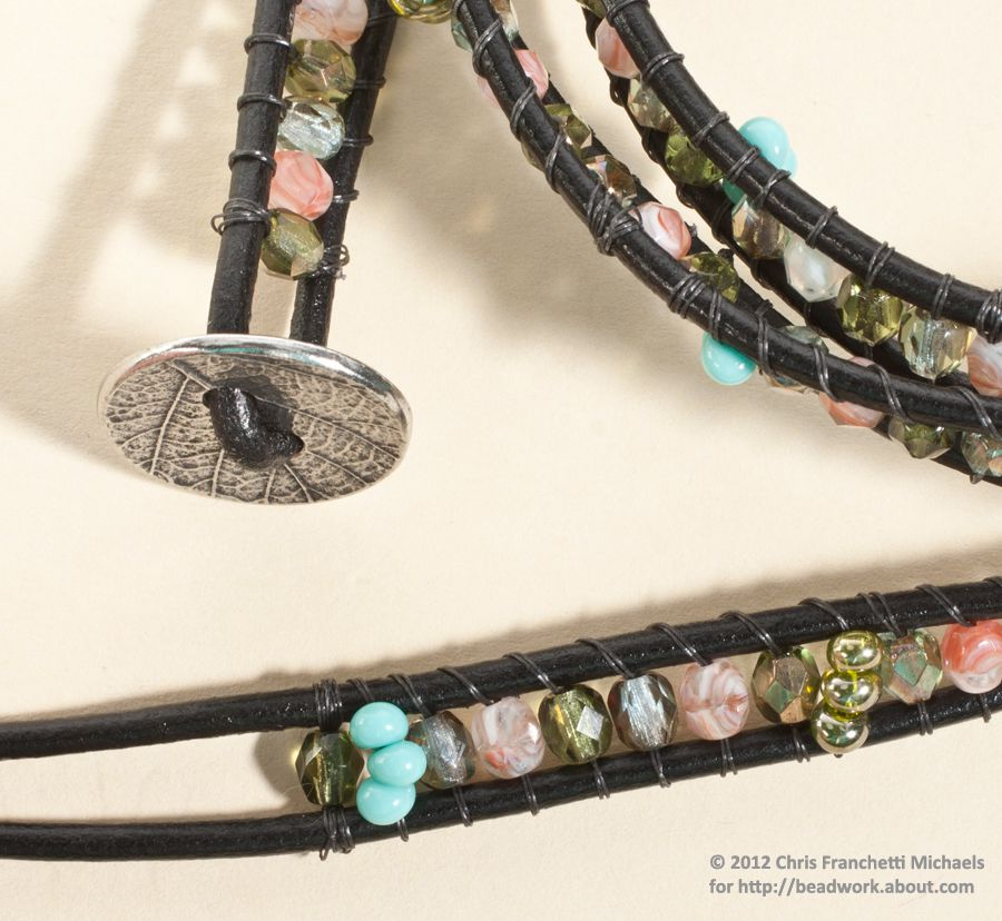 Leather Wrap Bracelet Pattern With Czech Gl Beads
