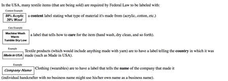 Clothing Label Requirements For Crochet And Handmade Goods