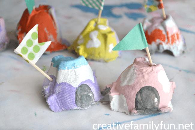 egg carton fairy houses