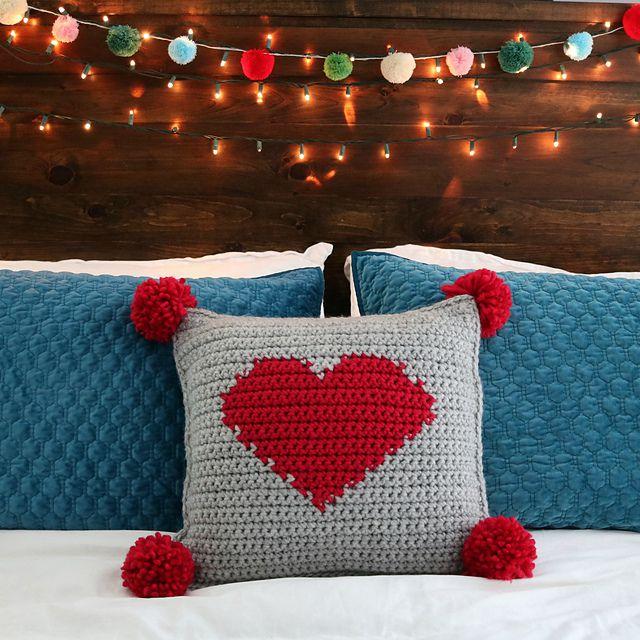 Pom Pom Crochet Heart Pillow
