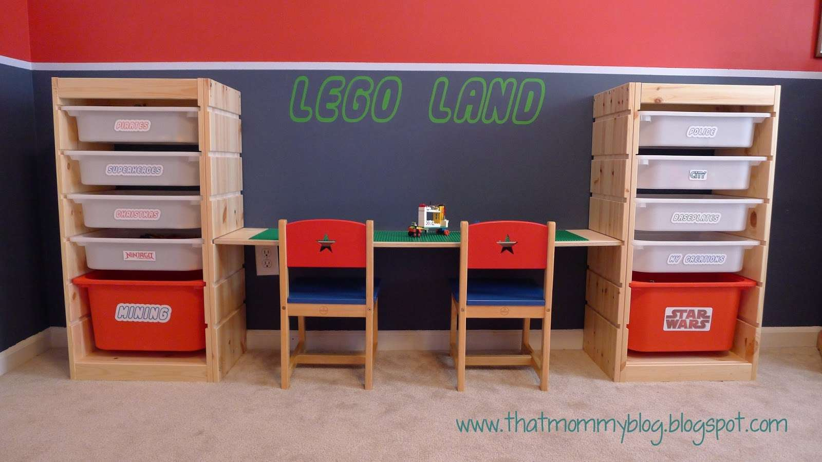 A Lego table with storage drawers on each side