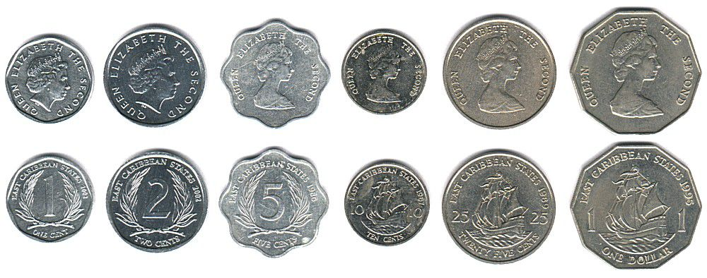 These coins are currently circulating in East Caribbean as money.