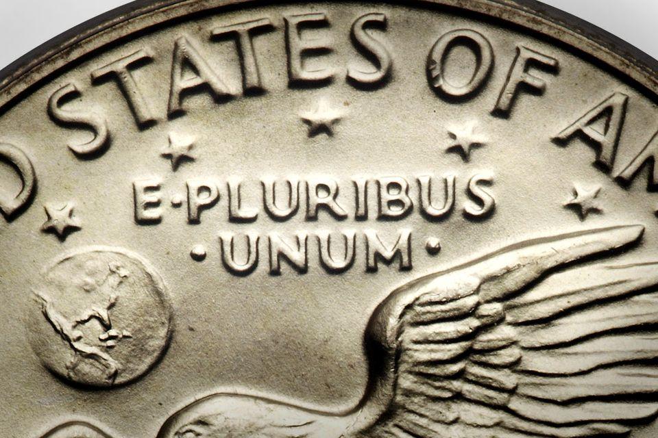 Closeup of 'E Pluribus Unum' on an Eisenhower Silver Dollar