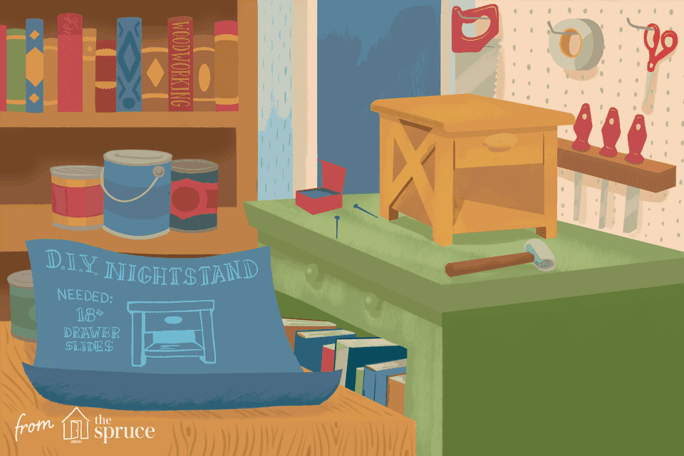 Illustration of a nightstand being built
