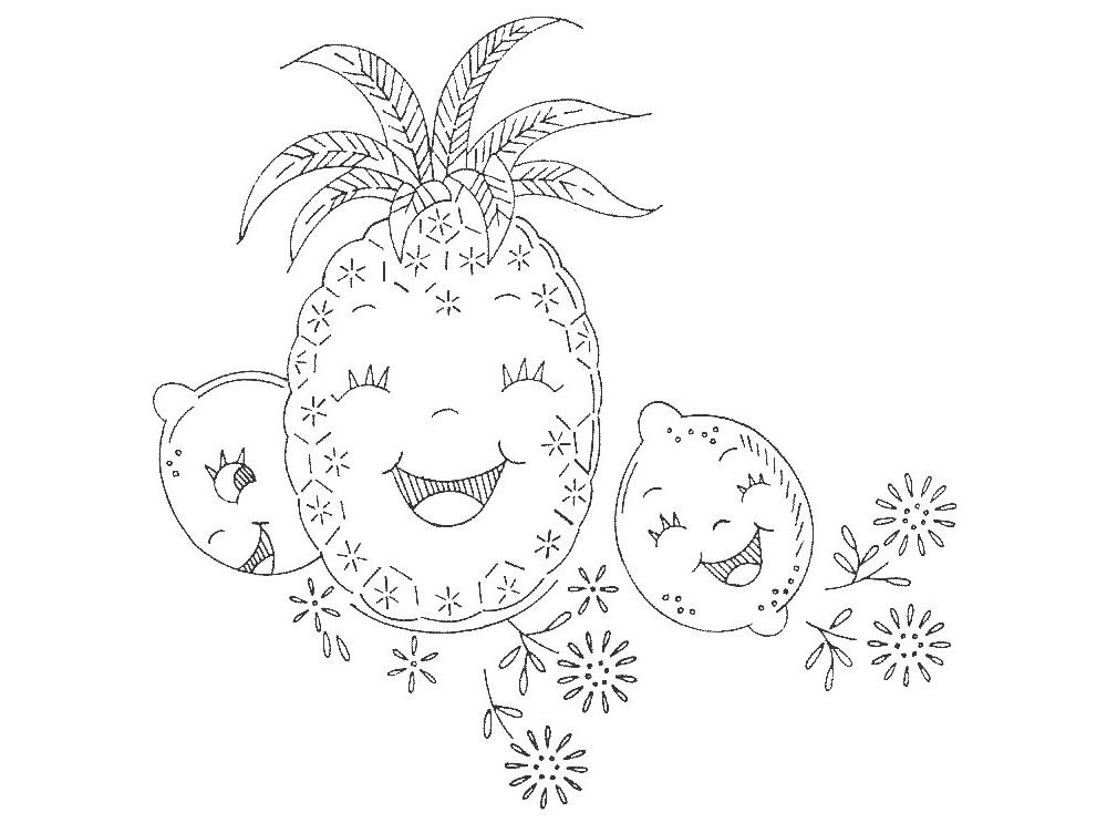 Vintage Laughing Fruit Embroidery Pattern