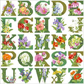 ABC Floral Sampler Cross Stitch - Kooler Design Studio