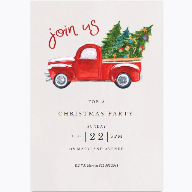 A red vintage truck carrying Christmas trees on a Christmas party invite