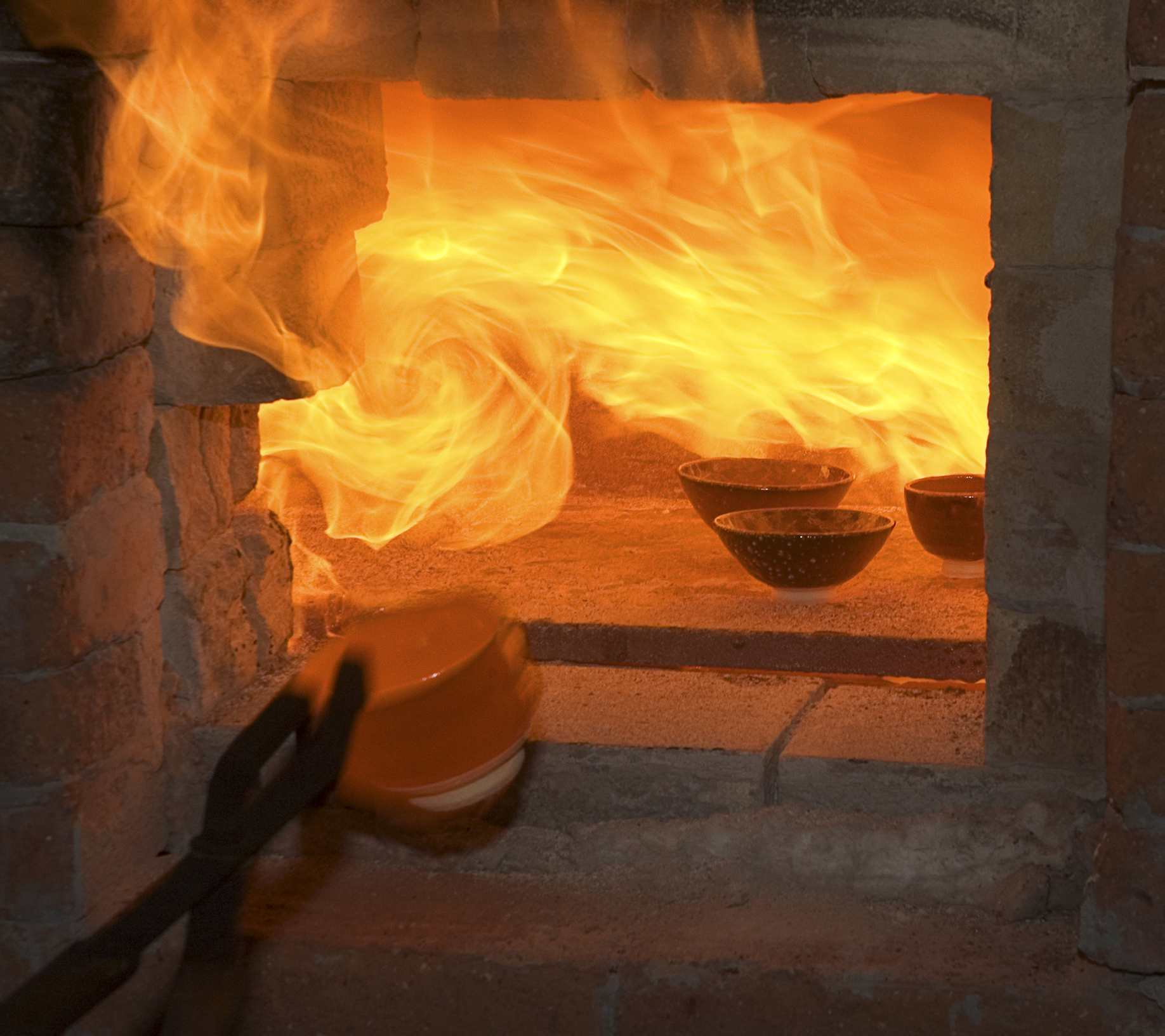 Fire emitting from a kiln