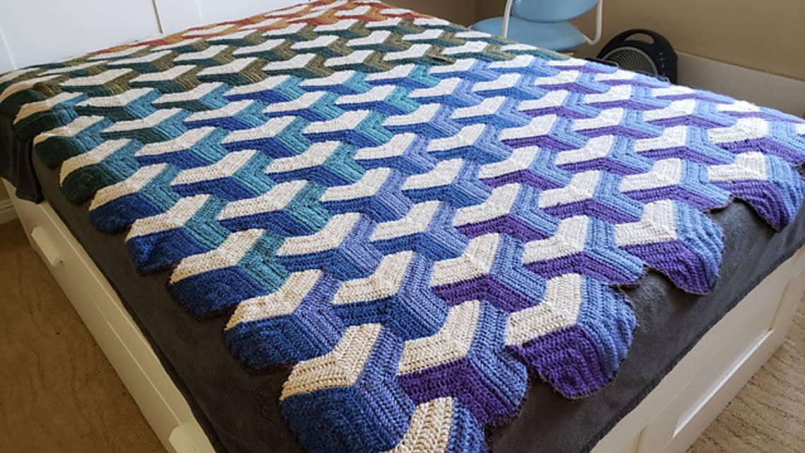 Crochet Tumbling Blocks Free Blanket Pattern