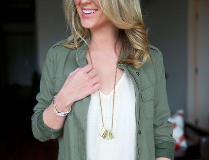 Close-up of stylish woman wearing necklace