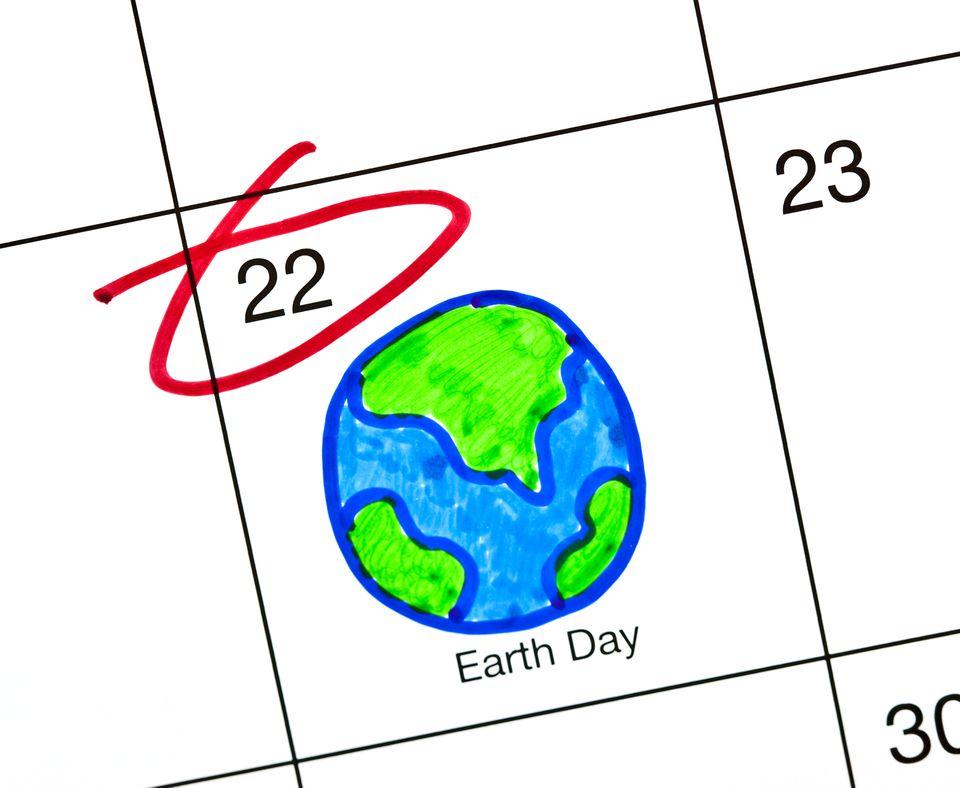 Earth Day circled on a calendar
