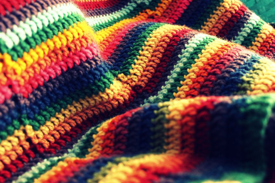 Rainbow Striped Crochet Blanket