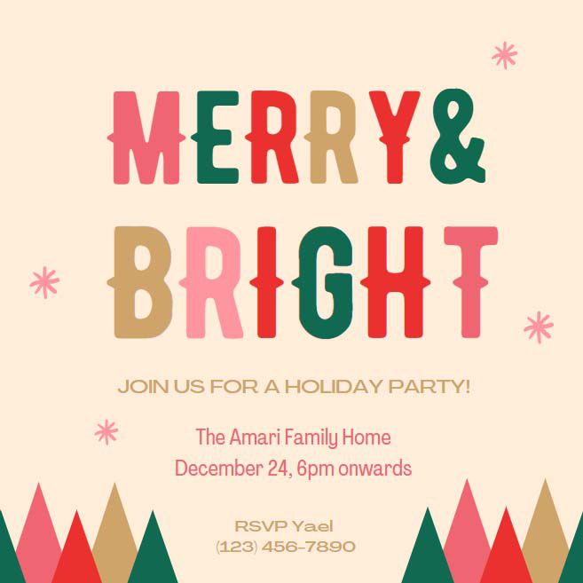 A colorful Christmas party invite that says