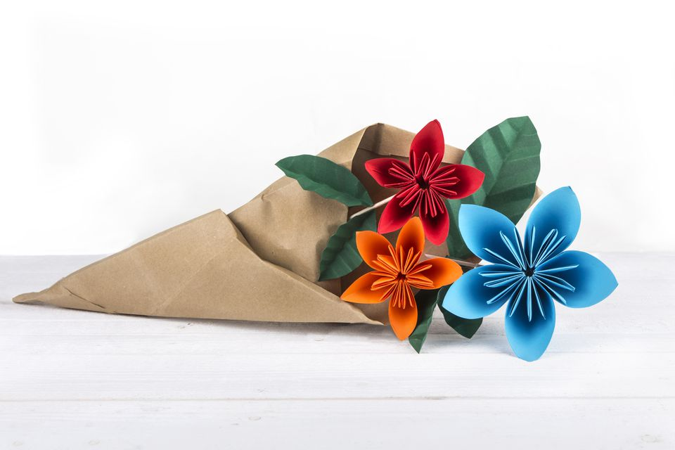 Colorful Origami Flower Bouquet