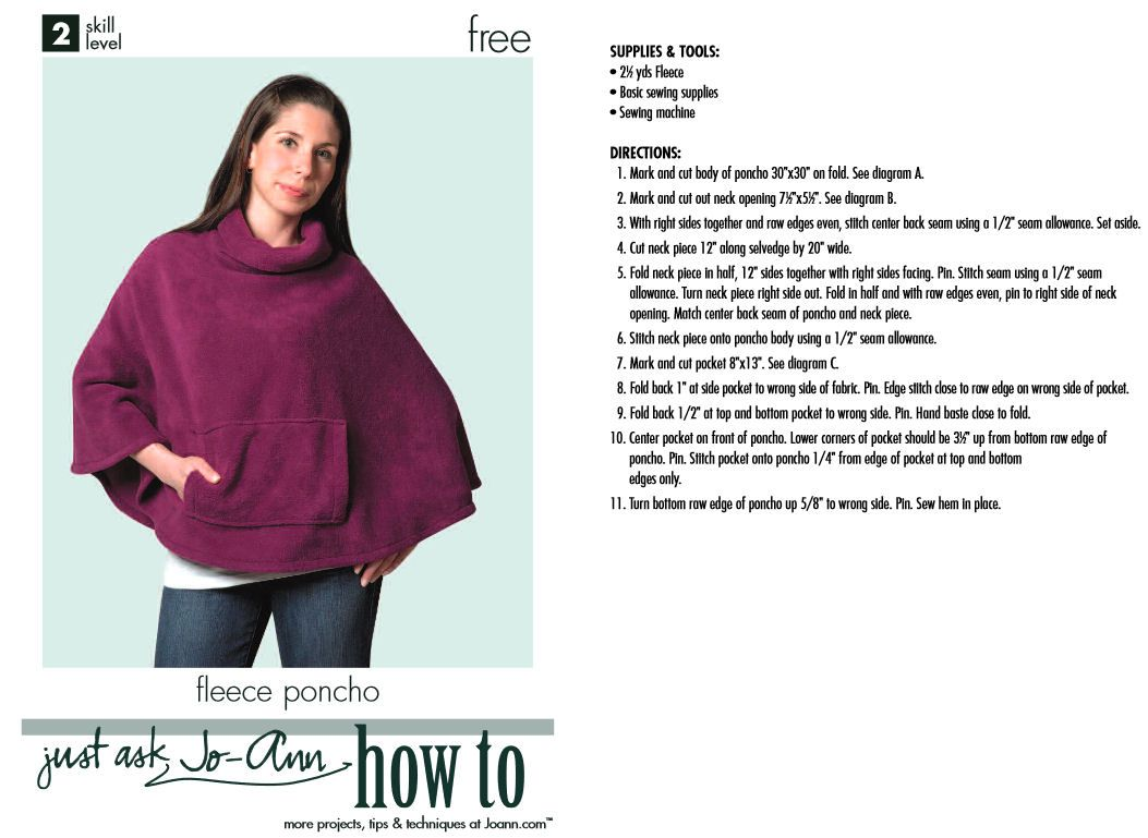 Fleece Poncho Pattern Free New Decorating