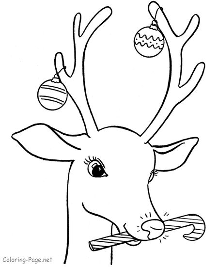 Christmas Coloring Pages At Page Rudolph With A Candy Cane