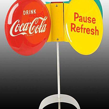 Ca. 1950s Coca-Cola Spinning Whirlygig Sign & Base