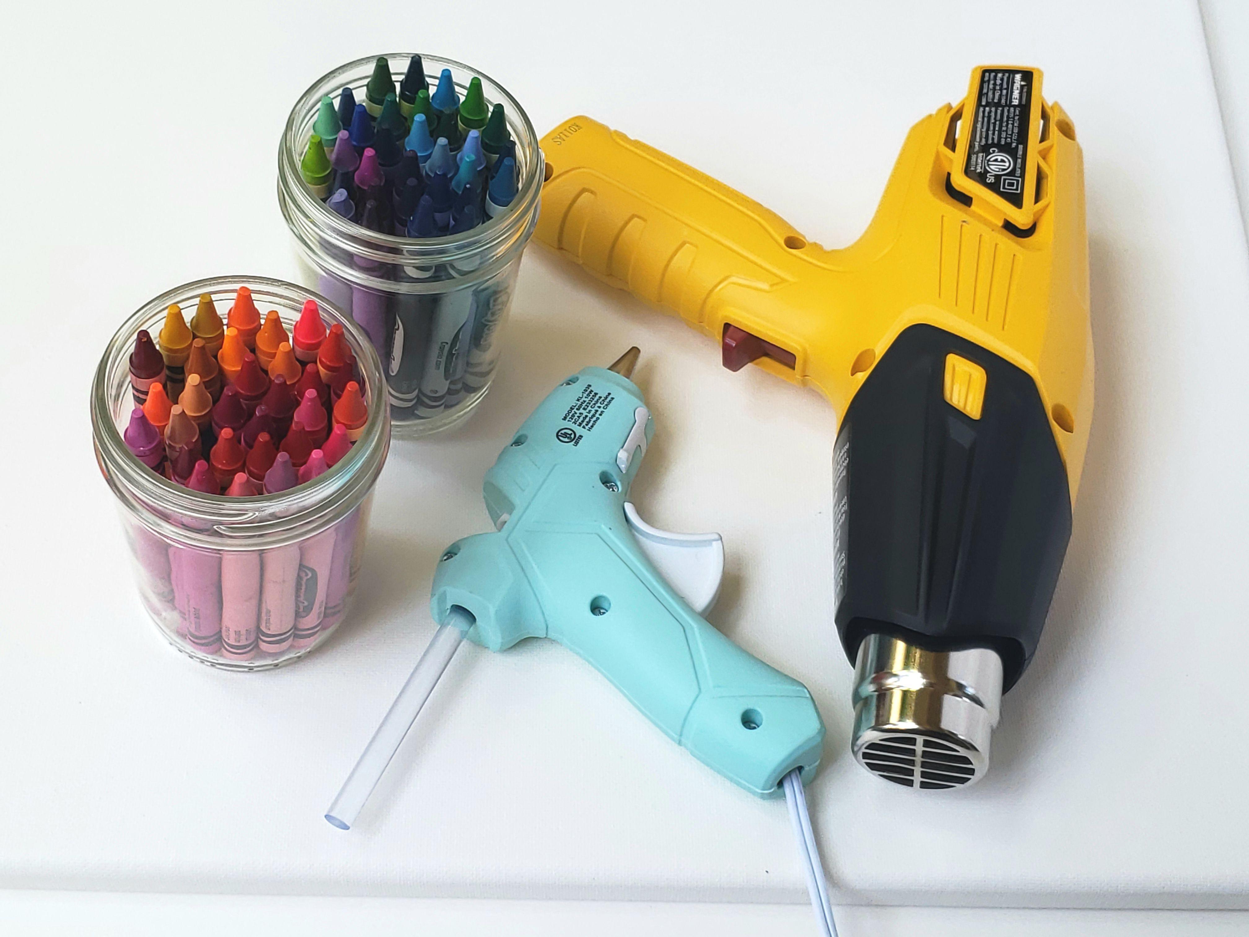 Crayons, a heat gun, and a hot glue gun