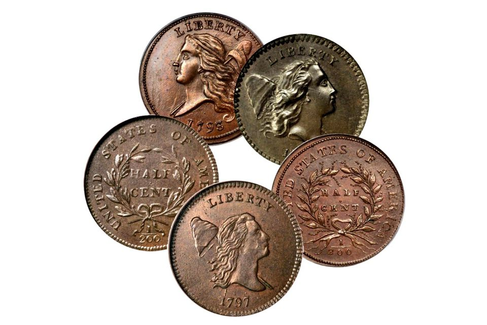Examples of Liberty Cap half cents.