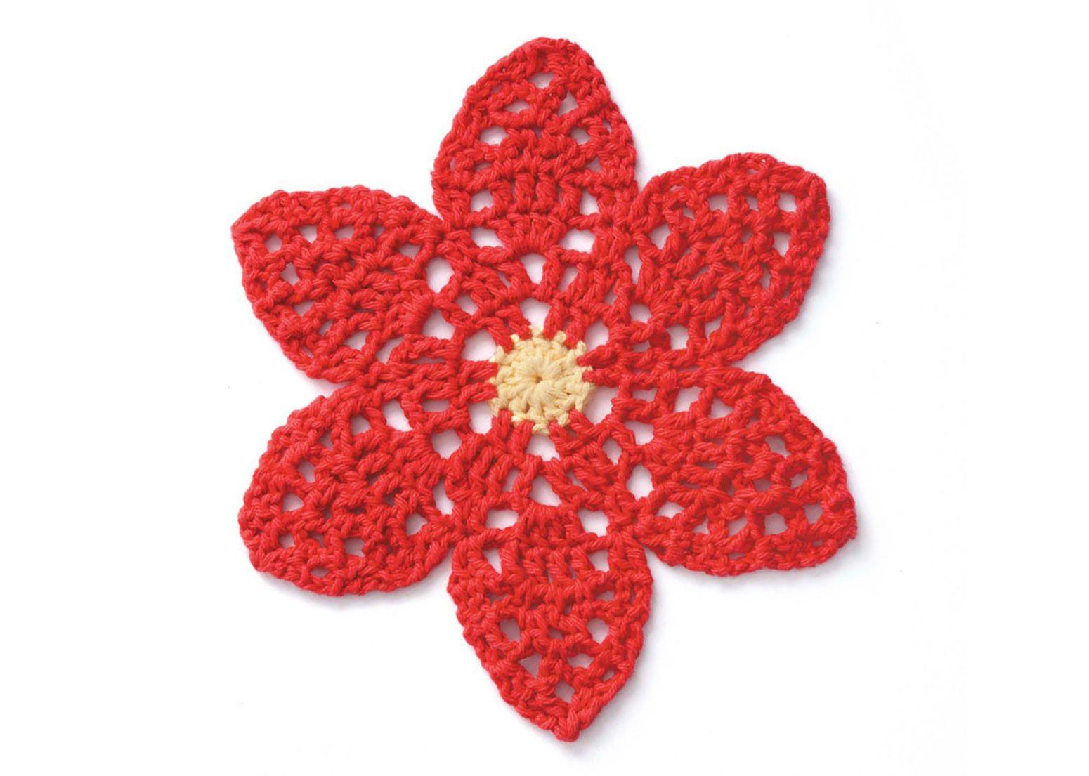 Poinsettia Dishcloth Crochet Pattern