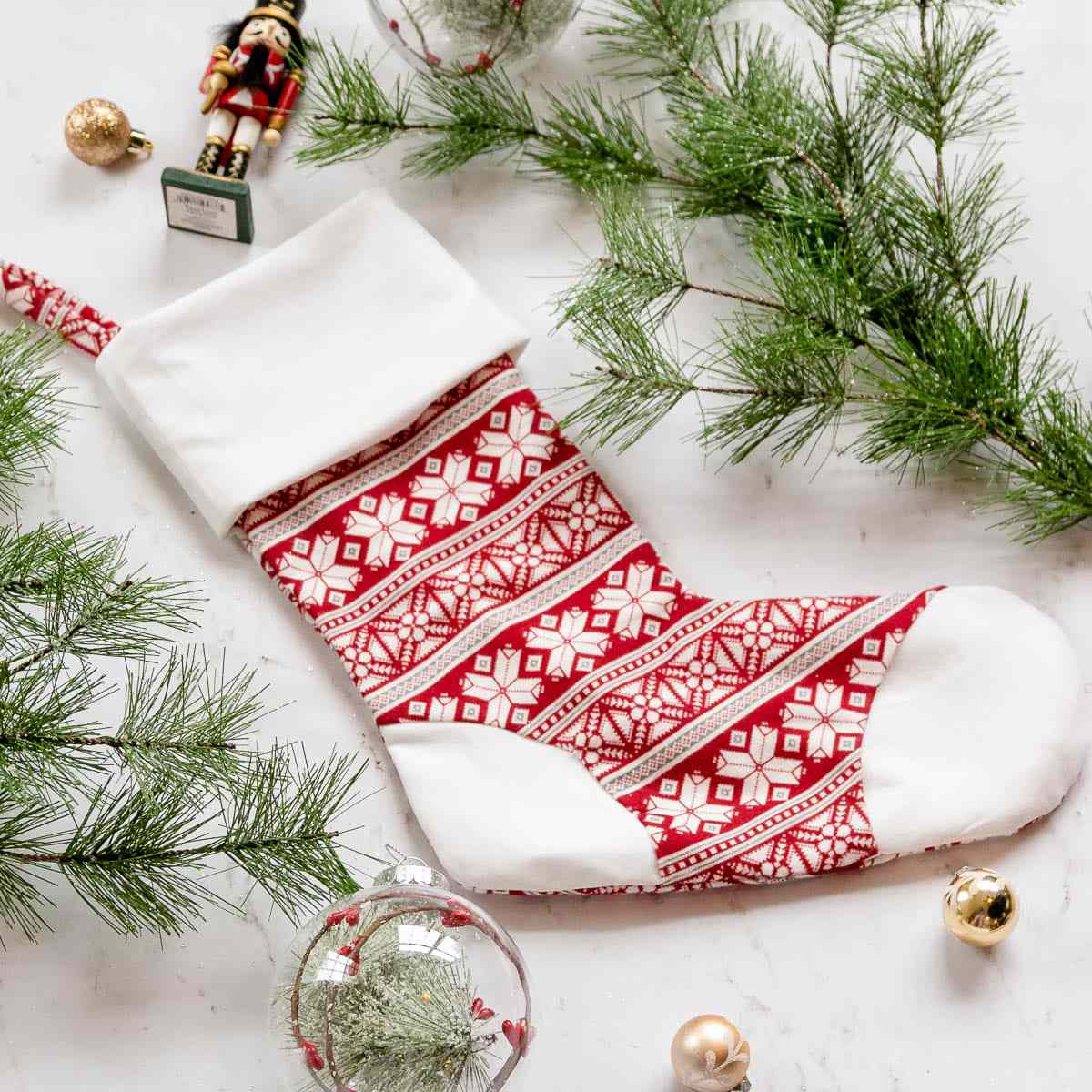 Christmas Stocking Sewing Pattern With Cuff, Heel, and Toe