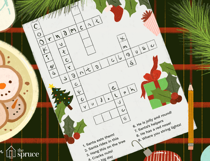 Illustration of a christmas crossword puzzle