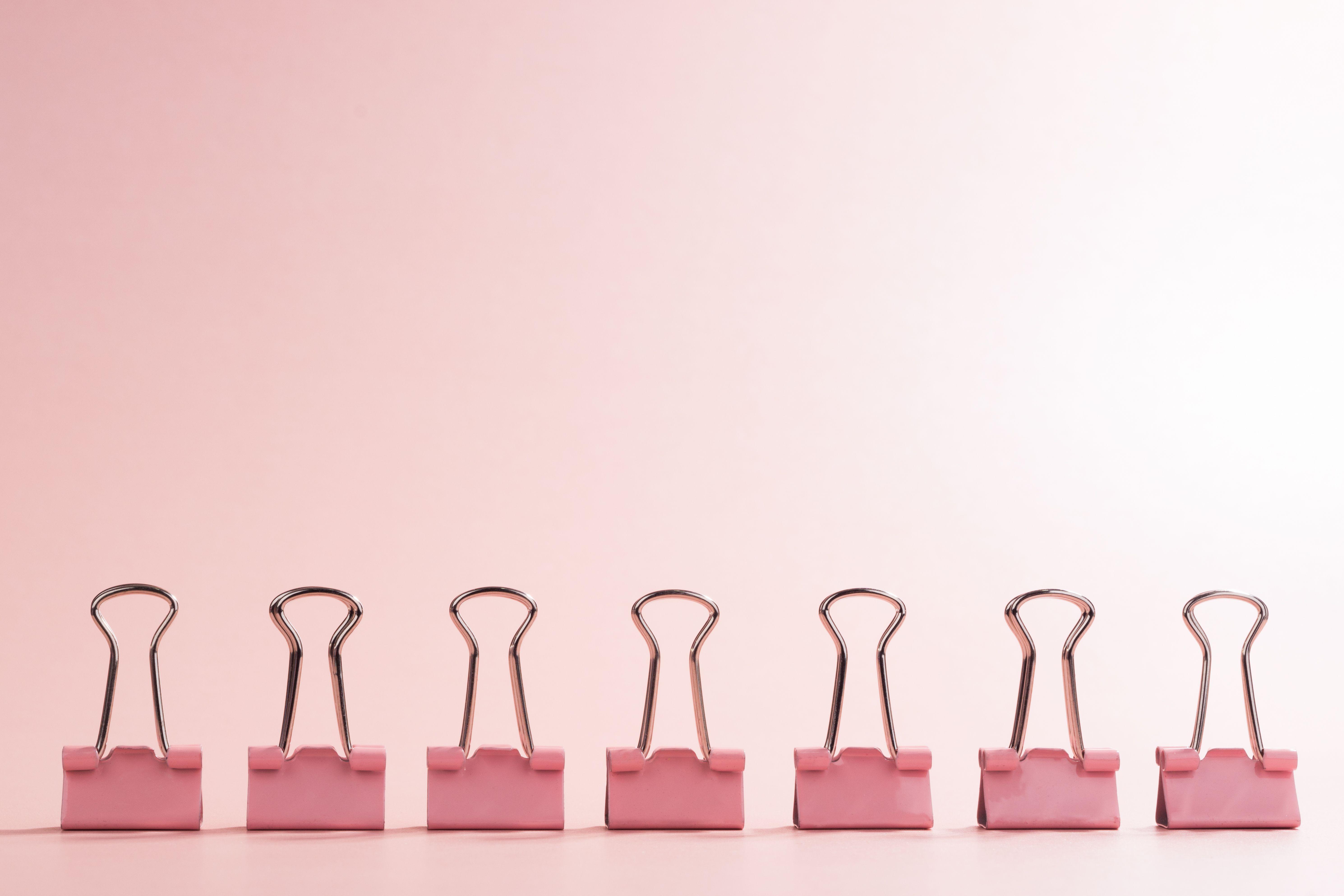 A Row of Binder Clip