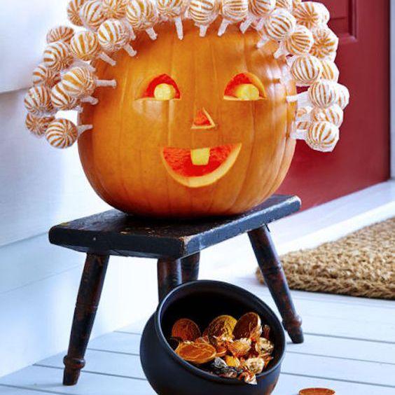 pumpkin with lollipop hair