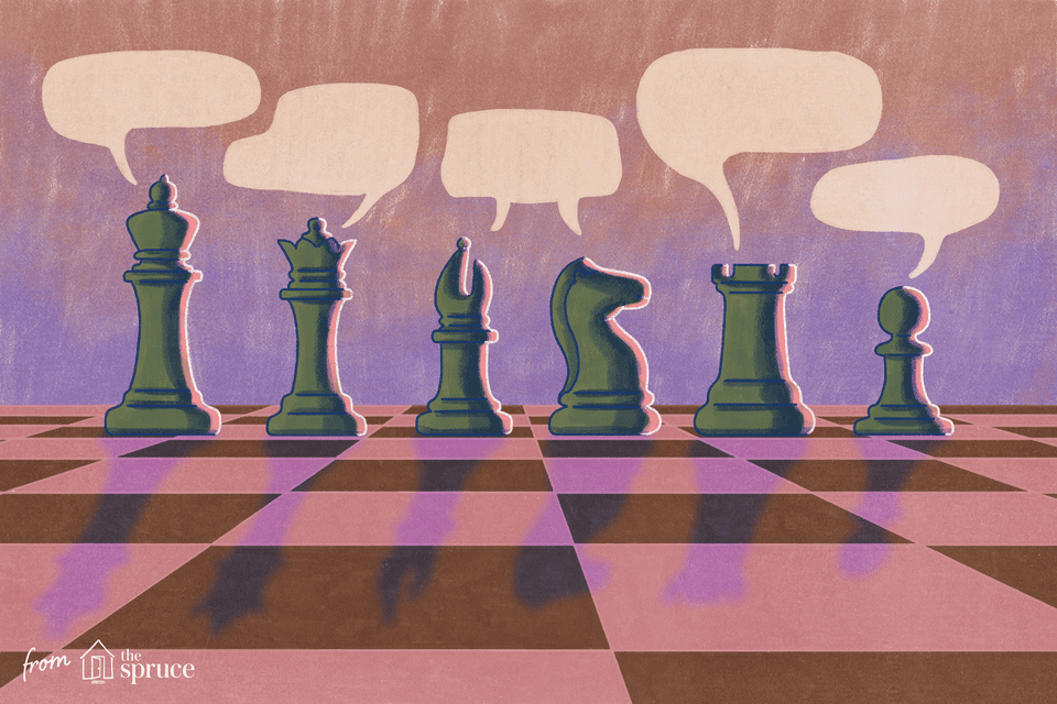 Illustration of chess pieces with speech bubbles