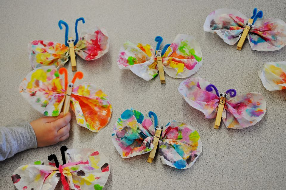 Coffee filter and clothespin butterflies